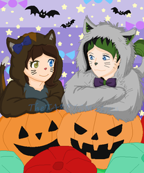 Halloween Kitties: Melissa and Will by TheTARDISMistress