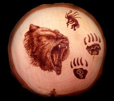 Bear Spirit Pyrography by ckatt01