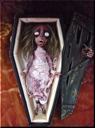 Zombie girl Mathania in coffin by SoDarkSoCute