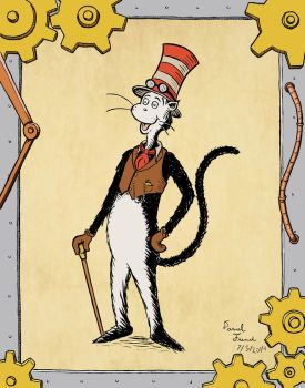 Steampunk Cat in the Hat by DanTheLefty