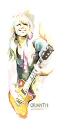 Orianthi Watercolor Vector Painting by toniagustian