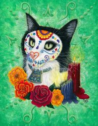 Day of the Dead Cat Candles by tigerpixieart