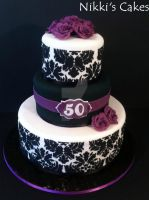 50th Birthday Purple Damask Cake by Corpse-Queen