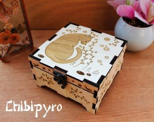 Wooden box black cat by ChibiPyro