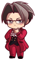 Miles Edgeworth_ Ace Attorney Chibi Charm by pinkplaidrobot