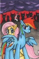 Rainbow Dash Defends Fluttershy ACEO by Fragraham