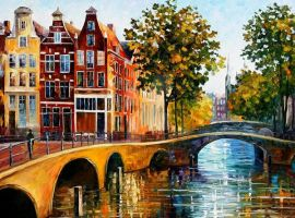 The Gateway To Amsterdam by Leonid Afremov by Leonidafremov