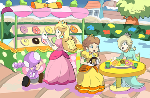 Nintendo Princesses - Donut Minigame drawing by AlSanya