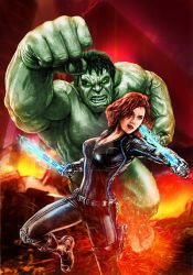 HULK AND BLACK WIDOW by claudioaboy