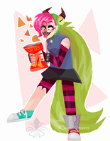 she likes chips by Squid-Goddess