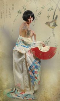 girl with red fan and bird by Howie08