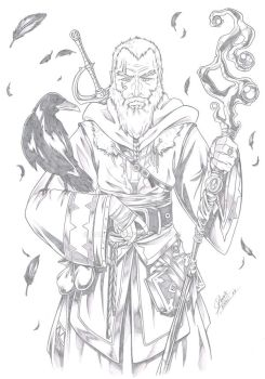 Commission - Old wizard by Dannith