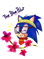 The blue blur -  Sonic Hipster by LynIcarus