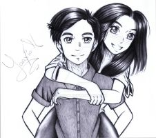 Drawing of Couples FB picture. by Yaaxian