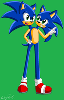 .:Request:. Two Headed Sonic by Deethehedgehog