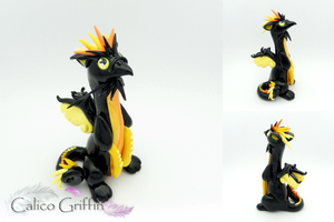 Remon - black griffin - clay sculpture by CalicoGriffin