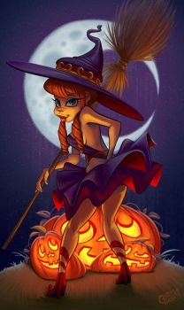 Witchy Pumpkin Pinup by Curly-Artist