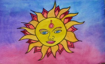 Watercolor Sun 1 by mintdawn