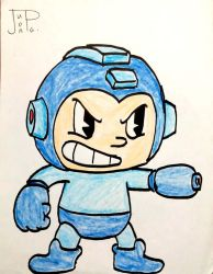 Megaman in Cuphead Style by JuanpaDraws