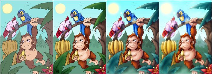 Ape and parrots by melvindevoor