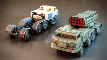 ZiL-135 base vehicle and 9P140 'Uragan' MLRS by Enterprise-E