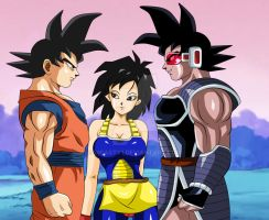 Goku , Gine y Turles reunion providencial by dicasty1