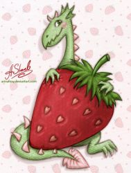 ...Strawberry dragon... by ArinaFoxy