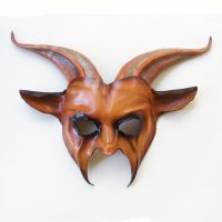 Goat Leather Mask caramel brown black by teonova