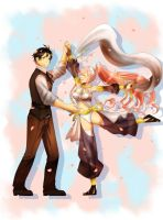 Commissioned Art: Frederick x Olivia Dancing by AmethystMoon420