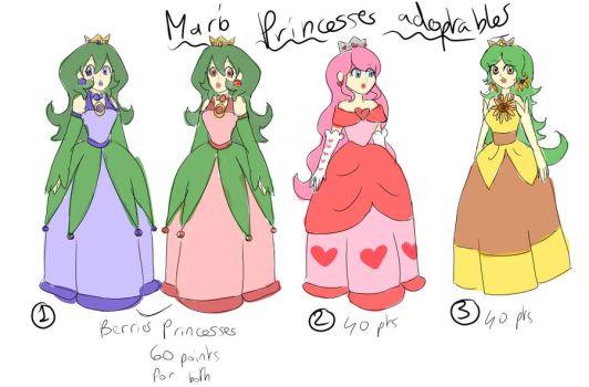 Mario princesses adoptables by Coco-of-the-Forest