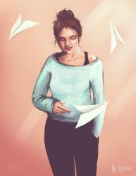Autoportret with paper airplanes by natalbecka