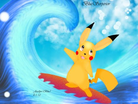 Surfing Pikachu by BlueySerperior