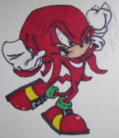 Quick Knuckles the Echidna Colored Drawing by Th3AntiGuardian