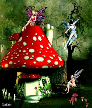Mushroom Fairies by lateralispine