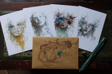 Fragments Postcards - with Hand drawn envelope by Carnegriff
