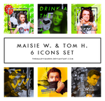 maisie w. and tom h.  6 icons set by TheMaleviQueen