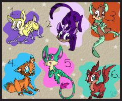 6 Free Adoptables Closed by Electric-Mongoose