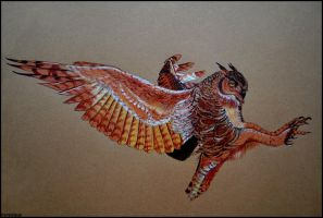 Great horned owl by Verenique
