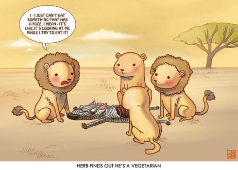Vegetarian lion by Sheharzad-Arshad