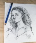Curly Beauty - Sketch Drawing Illustation by punchyone
