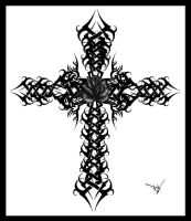 Gothic Cross Rose Version 2 by Quicksilverfury