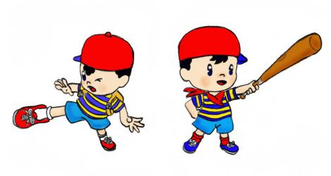 ness and ninten in colour!! by thebigJ94