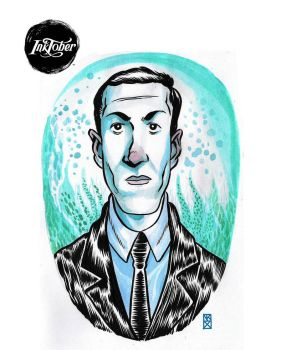 Inktober   -day 6- H.P Lovecraft by nockiman