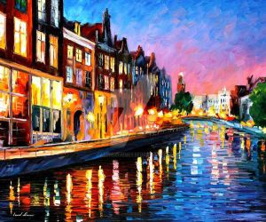 Amsterdam - Sunday Night by Leonid Afremov by Leonidafremov