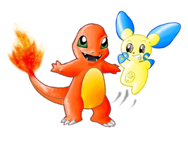 Digital Charmander and Minun by PipeDreamNo20
