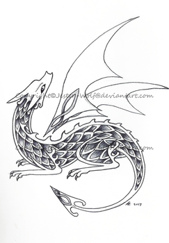 Celtic Dragon Curled by Jester-Wolf