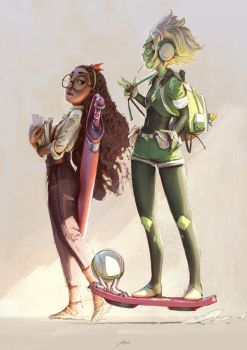 Connie and Peridot by yoshiyaki