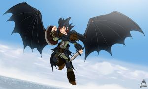Hiccup in Night Fury Gear by bernoully