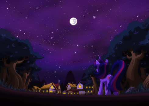 Ponyville at night by RainbowDashuk