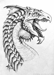 Inktober 2016 - White Dragon by psycrowe